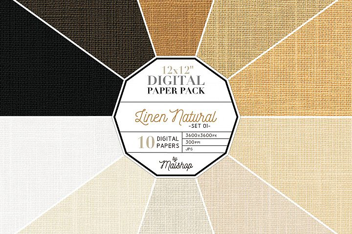 Digital Paper Pack Linen Natural Set 01