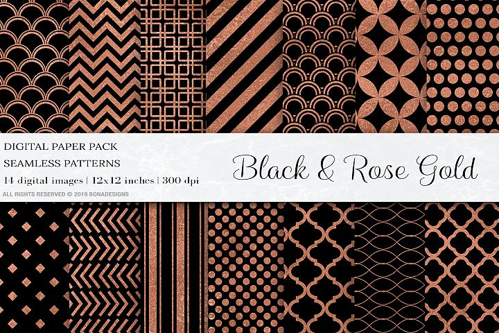 Black Rose Gold Digital Papers, Rose Gold Seamless Patterns
