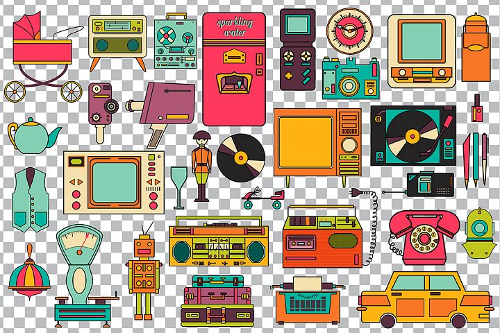 32 retro icons 80-90s collection. - Free Design of The Week Design 5