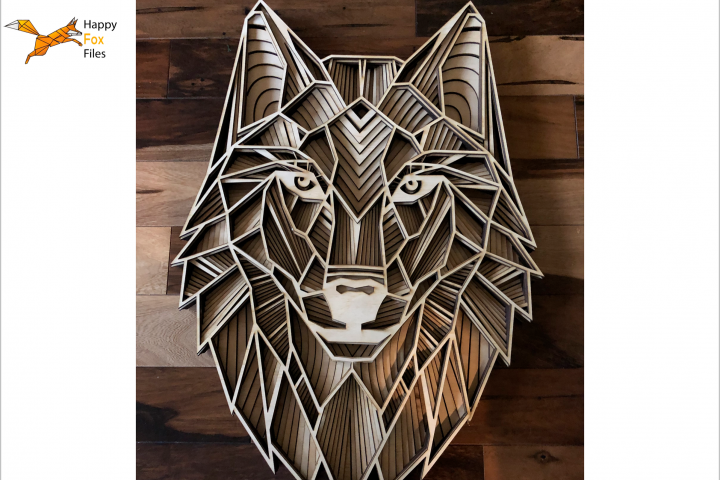 Multilayer Mandala Wolf head Files for CNC Laser