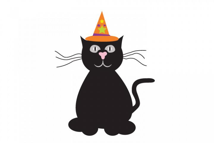 Halloween cat, witch cat, black cat,