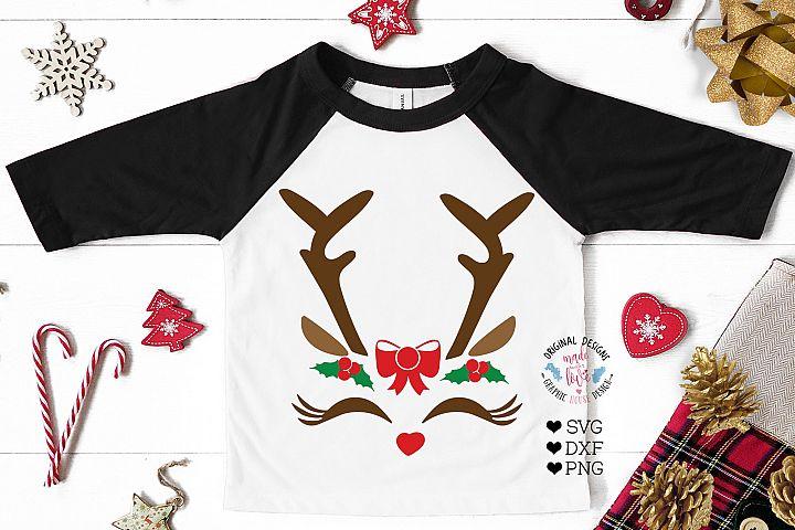 Christmas Reindeer Face - Christmas Girls Cut Files