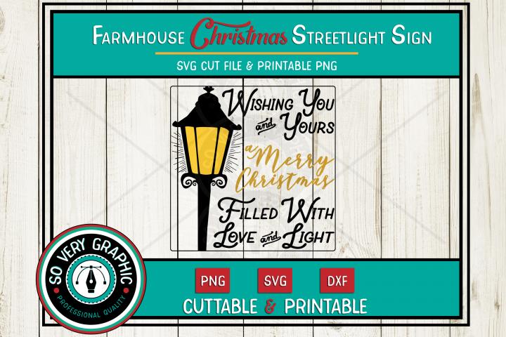 Farmhouse Christmas Streetlight Sign | SVG | PNG | DXF