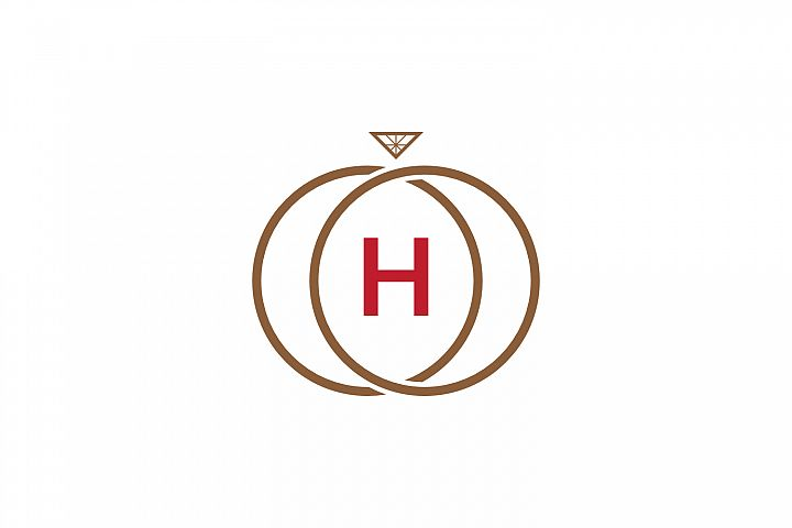 h letter ring diamond logo