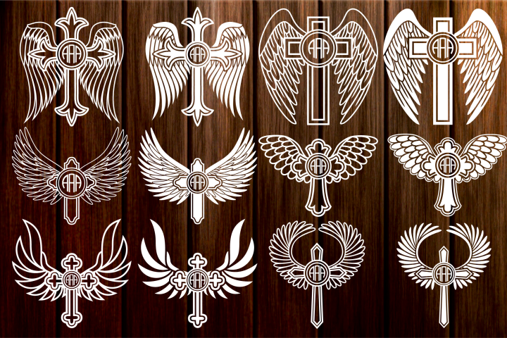 Cross with Wings SVG, Cross Svg, Angel Wings, Circle Frames