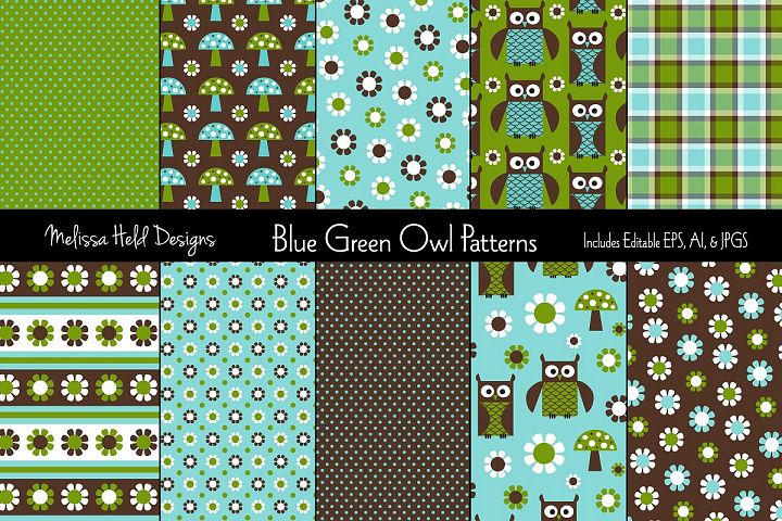 Blue & Green Owl Patterns