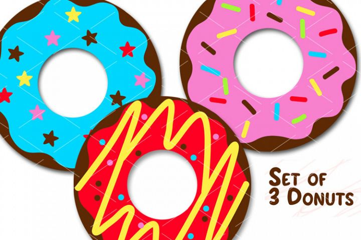 Donuts Set of 3 prints Donut clip art Food Bakery logo Png