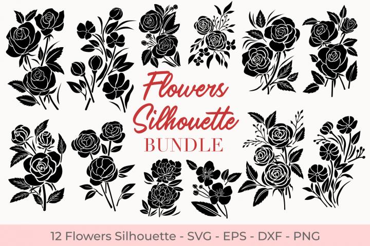 Flowers Silhouette Bundle Svg