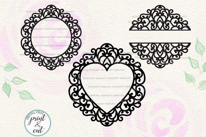 Swirly Swirls monogram frame for name bundle cutting svg pdf