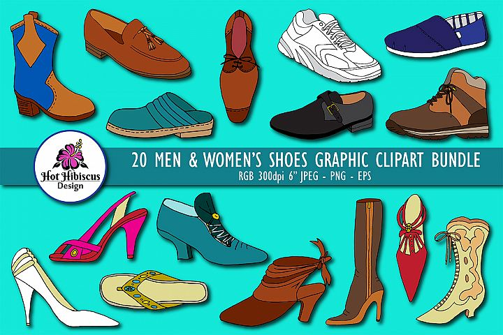 Mens and Womens Shoes Graphic Clipart Bundle