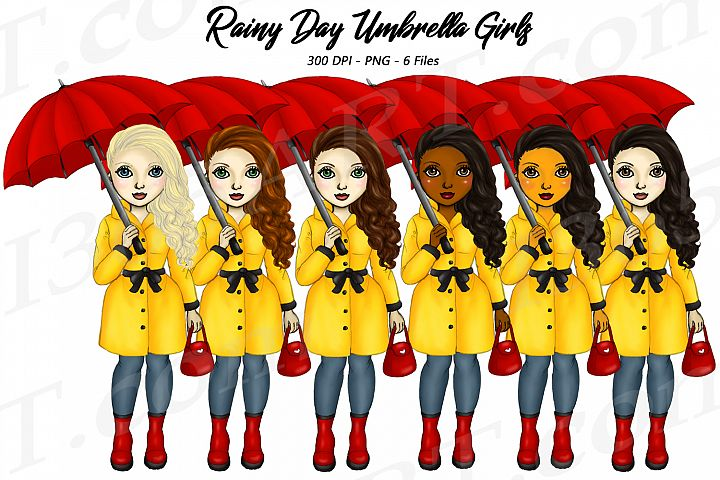 Rainy Day Spring Fashion Girls Clipart African American