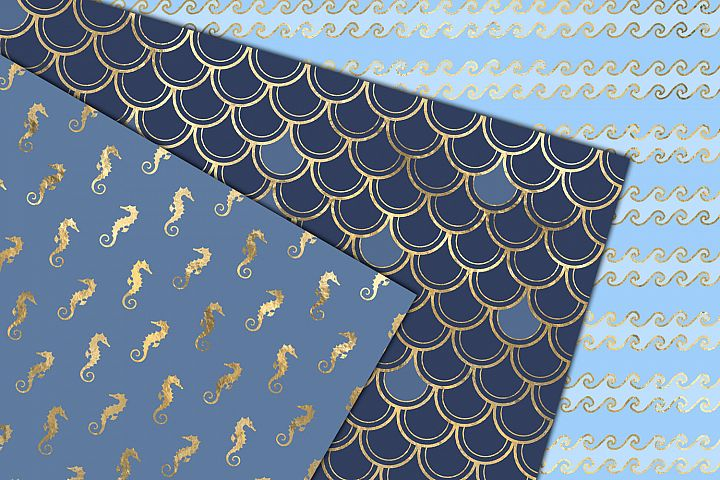Blue and Gold Mermaid Digital Paper example 3