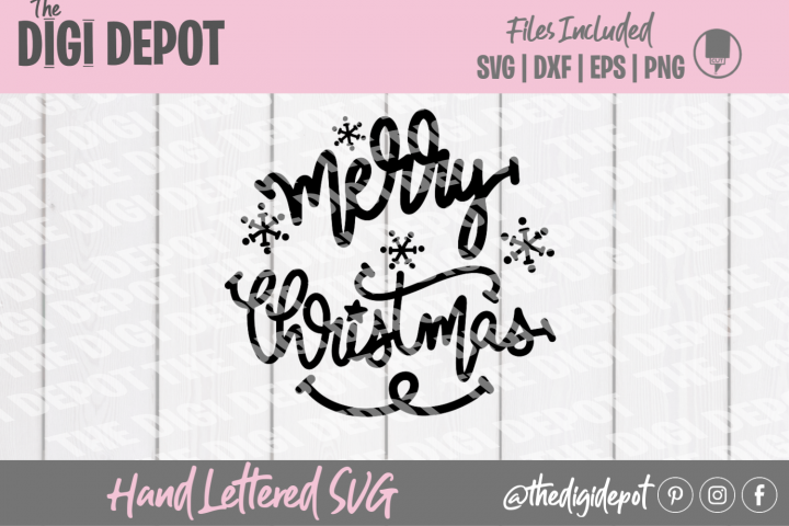 Merry Christmas SVG, Christmas SVG, Hand Lettered SVG, Cut