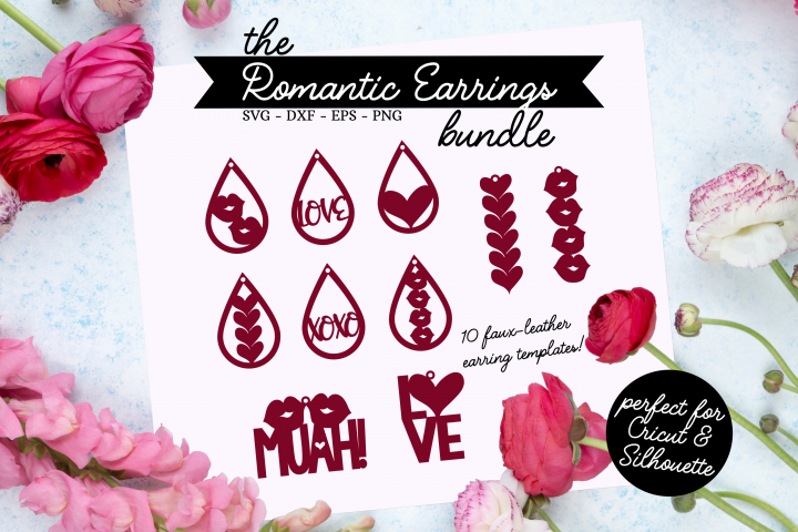 The Romantic Earrings SVG Bundle - Valentines Day SVG