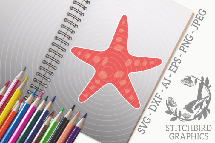Starfish 1 SVG, Silhouette Studio, Cricut, Eps, Dxf, AI, PNG