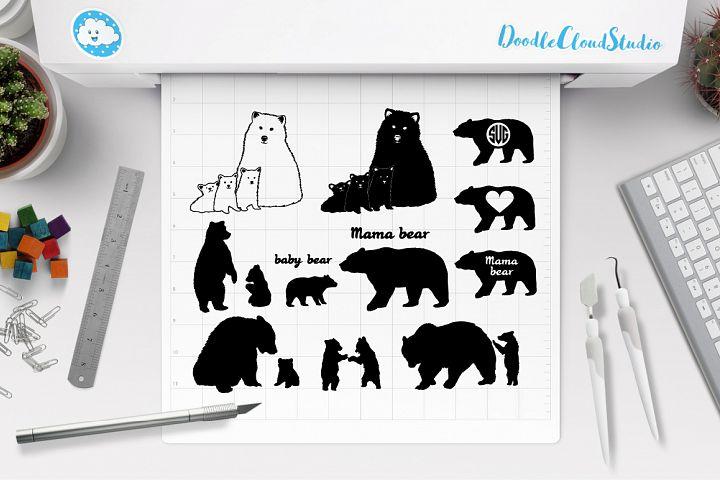 Bear SVG, Bear Family SVG, Mama Bears SVG, Baby Bear SVG.