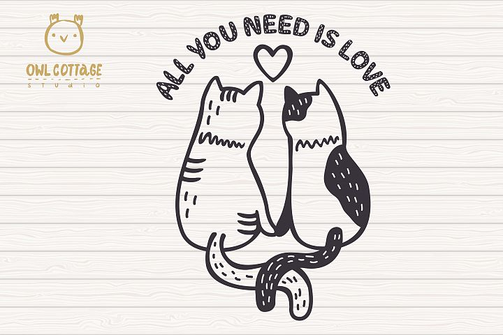 Valentine Cats Couple svg , Cats Clipart, Valentine's Day Sv - Free Design of The Week Design5