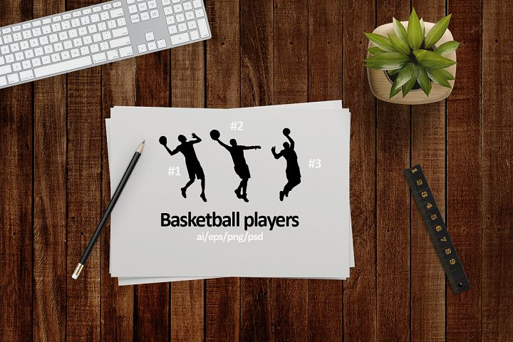 Basketball players. Silhouettes.