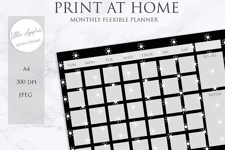 Printable Flexible Monthly Wall Planner Calendar. black