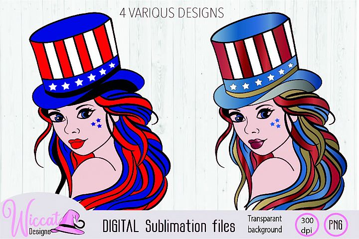 Girl with top hat in USA and rainbow sublimation