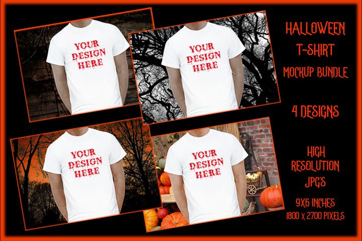 Halloween Men t-shirt Mockup Bundle, White Shirt Mock-Up