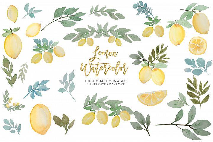 lemon watercolor clip art, Lime Clipart, Citrus Wedding