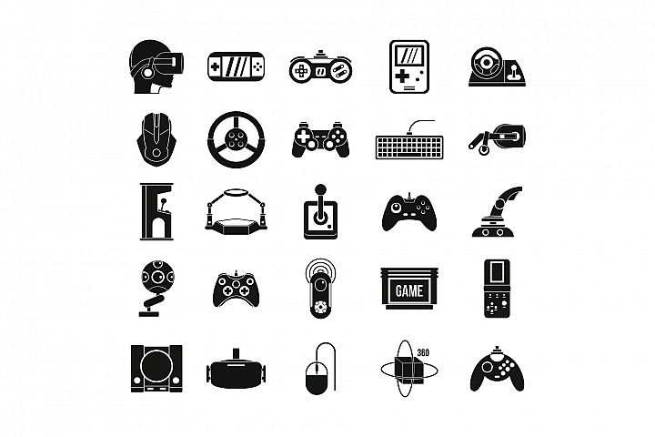 Game console icon set, simple style