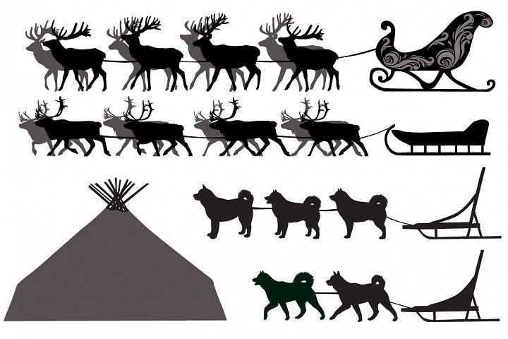 Deer and dog sleds