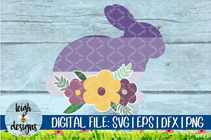 Ombre Bunny with Flower Swag SVG EPS DFX PNG Cut File