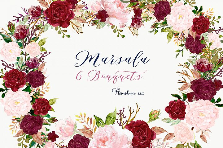 Pink and Marsala Watercolor Clipart Floral Bouquets