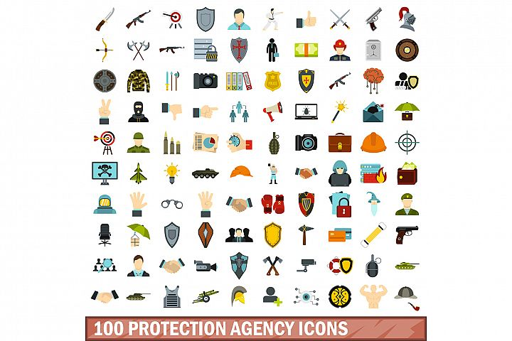 100 protection agency icons set, flat style