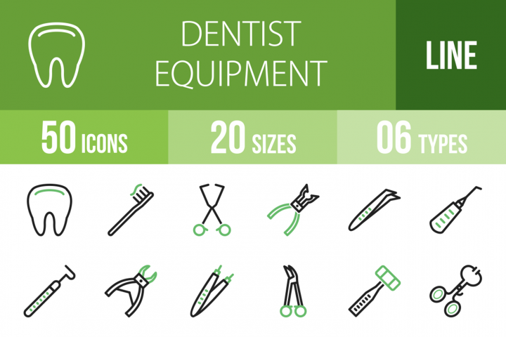 50 Dentist Equipment Line Green & Black Icons