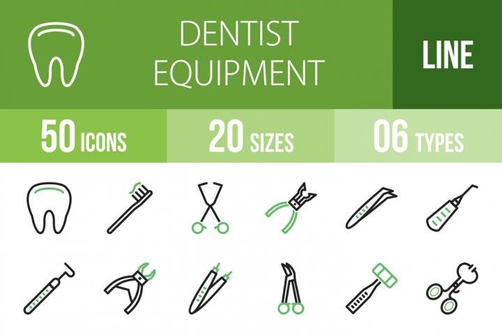 50 Dentist Equipment Line Green & Black Icons