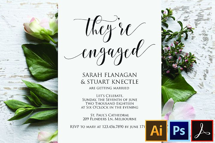 Modern Engagement Party, Invitation Template, Engagement