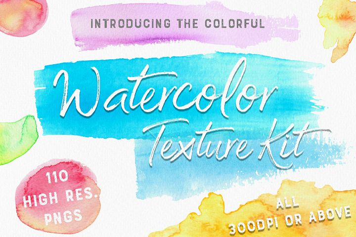 The Colourful Watercolour Texture Kit