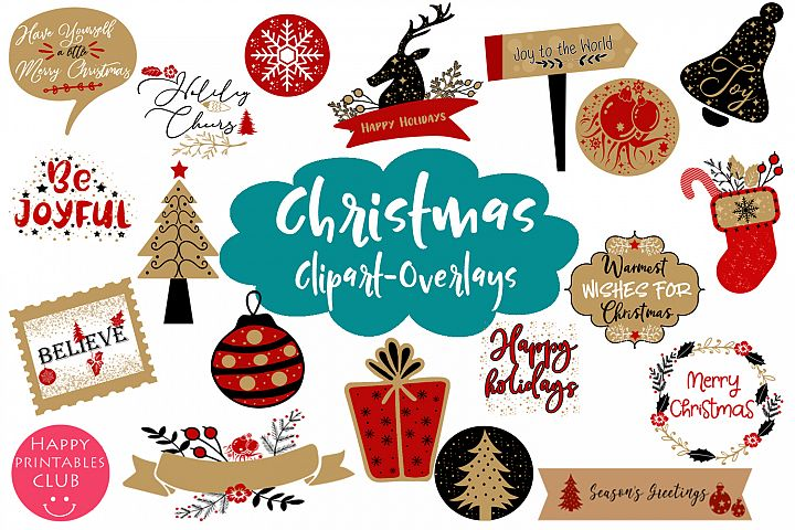 Christmas Clipart- Christmas Overlays-Holiday Graphics