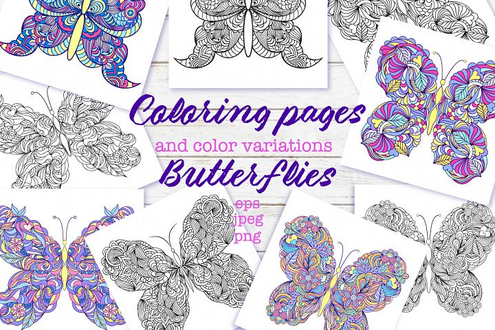 Floral butterflies. Coloring pages.