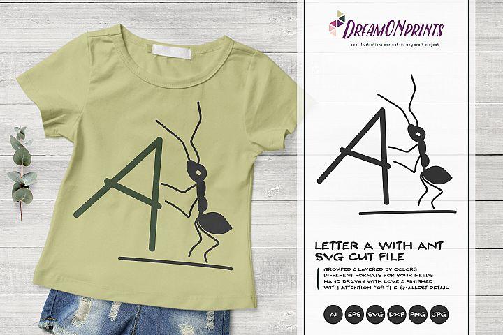 Monogram Letter A SVG Cut File | Alphabet Letter A with Ant