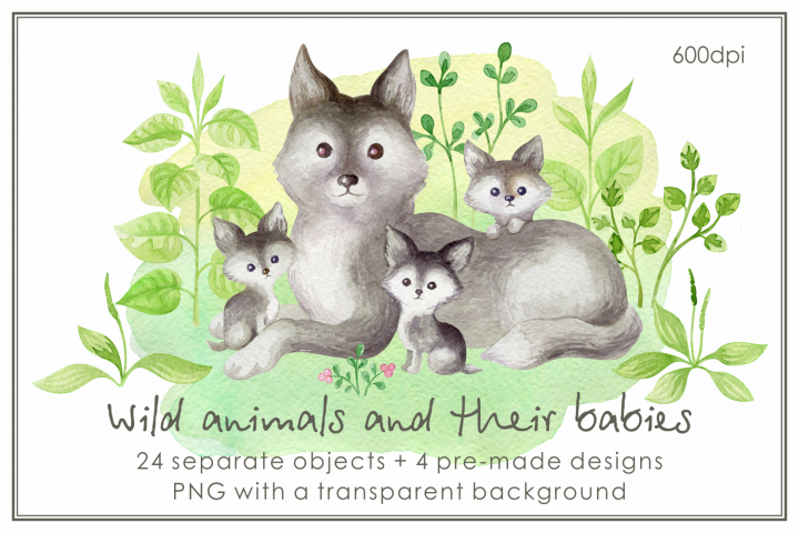 Wild animals and their babies. Mothers day watercolor set