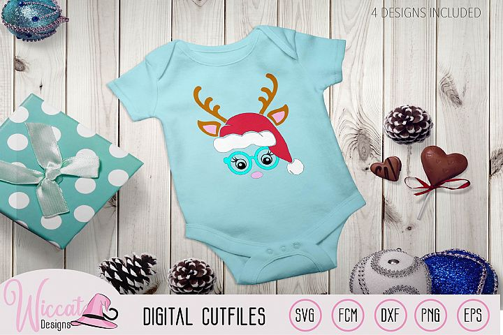Hipster Reindeer with Christmas hat svg, Baby deer, kids
