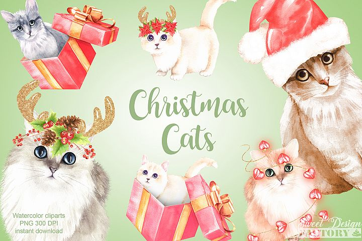Christmas cats cliparts