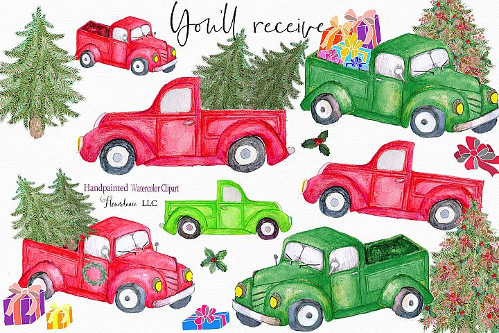 Red Truck Clipart, watercolor Christmas farm trucks