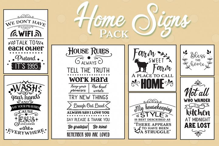 48 Home Signs Pack - Dining SVGs, Living SVGs, Bathroom SVGs