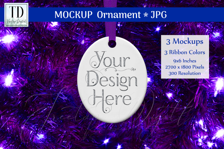 Oval Christmas Ornament Mockups, Bauble Mock-Up Purple, JPG