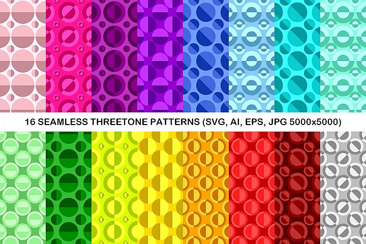 16 Seamless ThreeTone Circle Patterns