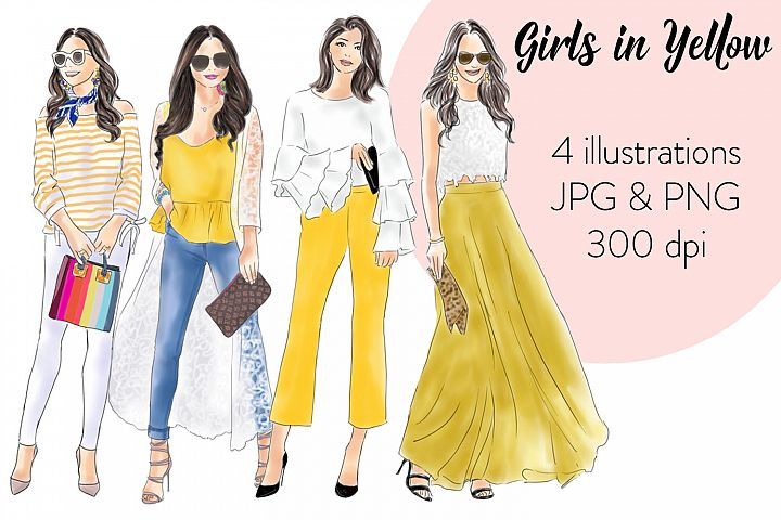 Girls in yellow watercolour fashion illustration clipart example