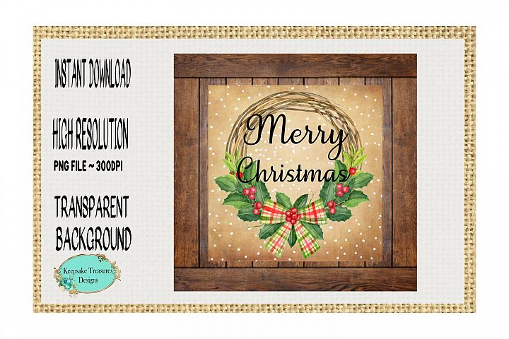 Merry Christmas Country Coasters, Sublimation Design