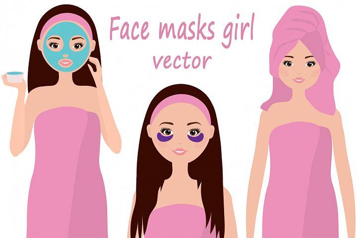 Facial masks girl vector illustration