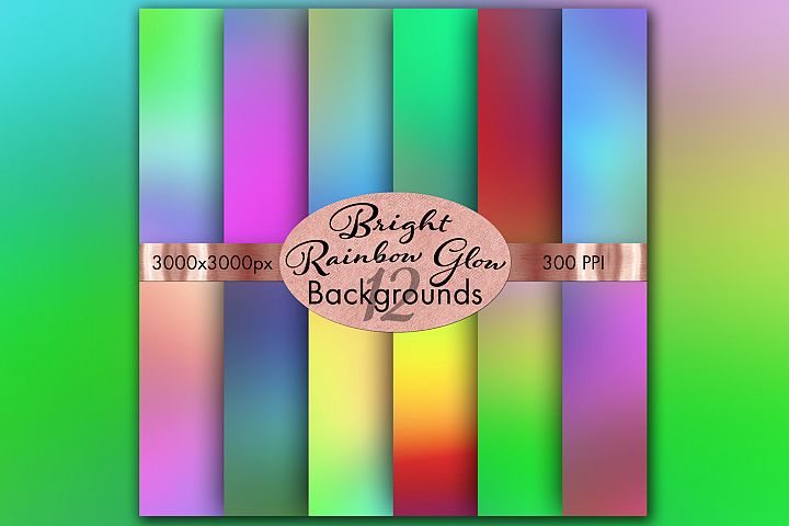 Bright Rainbow Glow Backgrounds - 12 Image Set