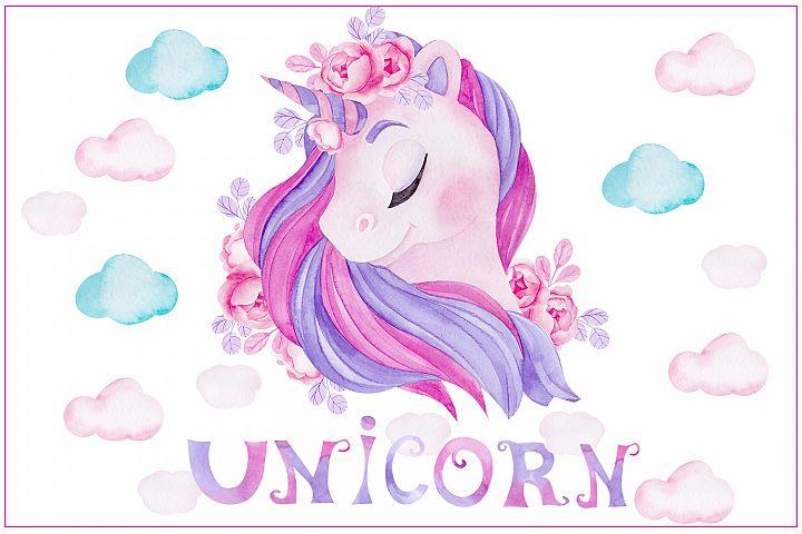 Cute unicorn. Illustrations and alphabet